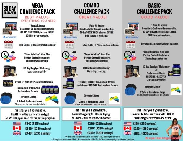 80DAY challenge packs